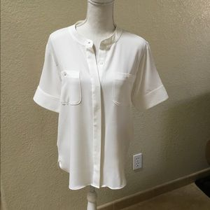 DKNY Cream Button Down Top Size M